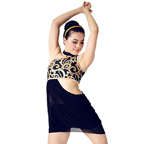 [MiDee Sequined Diagonal-neck High-low Dress Dance Costumes With Neckwear (MA, Black)] (Dance Costumes Ma)