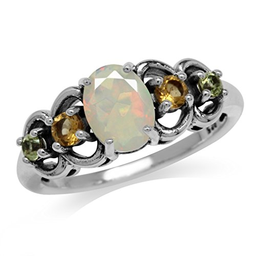 Genuine Opal, Citrine & Peridot Antique Finish 925 Sterling Silver Filigree Ring Size 7