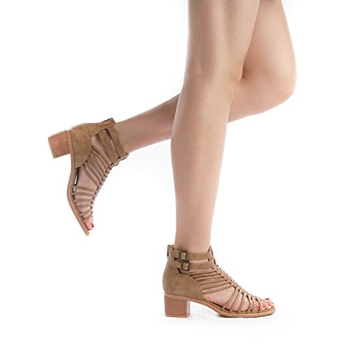 TOETOS Women's Ivy_02 Nude Fashion Block Heeled Sandals Size 11 B(M) US by TOETOS (Image #8)