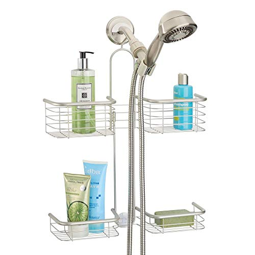 - mDesign Metal Hanging Bath and Shower Caddy Organizer for Hand Held Shower Head and Hose - Storage for Shampoo, Conditioner, Hand Soap - 4 Shelf Format - Satin