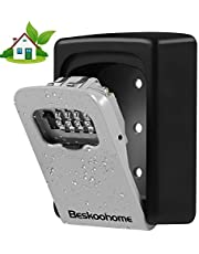 Key Safe Wall Mounted Lockbox - BeskooHome Waterproof Combination Key Lock Box, Zinc Alloy Key Storage with Slide Cover, Resettable Code, for House Spare Keys, Airbnb, Garage - Mounting Kit included