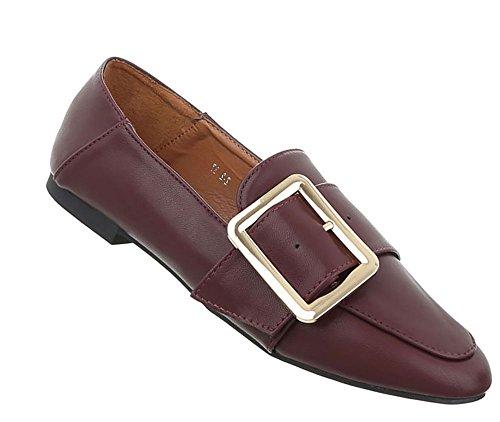 Damen Schuhe Halbschuhe Slipper Bordeaux