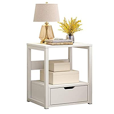 Fthome 2 Tier Modern Square End Table Side Table, US Fast Shipment Night Stand Bedside Coffee Table Nightstand with Storage Drawer for Living Room Bedroom Sofa Couch, Stable and Sturdy (White): Kitchen & Dining