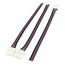 uxcell® 3pcs 15cm Long 10mm Width 4 Pin Adapter Wire Connector for 5050 RGB Strip