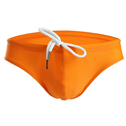 (Summer Code Mens Solid Swim Briefs Drawstring Bikini Sport Swimsuit Orange )