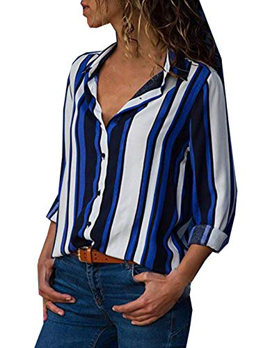 Revers Hauts Automne Manches Chemises Tee Femmes Shirts Longues Patchwork Shirts Blouses Chemisiers et Raye Mode T Casual Printemps Tops 7fw85f