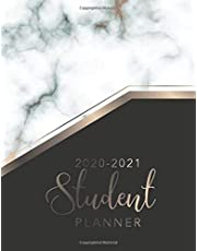 Student Planner 2020-2021: Marble Cover | Daily Weekly and Monthly Calendar Planner Academic School Year August 2020 - July 2021 | Dated 12 Months Student | Class Schedule Organizer Agenda Notebook | Assignment Tracker | Appointment Book