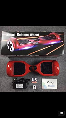 EROVER Two Wheels Smart Self Balancing Scooters Electric Drifting Board Personal Adult Transporter with LED Light (Red)