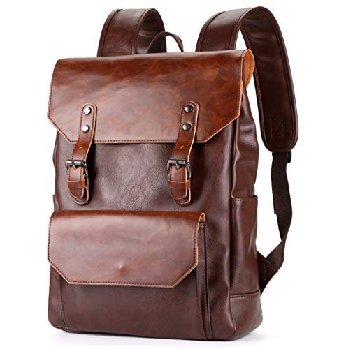 Color : Dark Brown LIUFENGLONG Luc Mens Leather Business Bag Large Capacity Rucksack Ladies Commuter School LIUFENGLONG