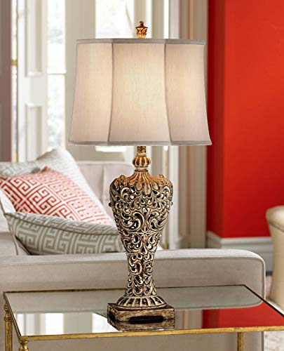 Elle Antique Table Lamp Classic Gold Open Scroll Off White Oval Shade for Living Room Family Bedroom Bedside Nightstand - Regency Hill ()