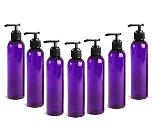 PURPLE PET Cosmo Plastic Bottle (PBA Free) 4 Oz w/Black Lotion Pump Dispenser (6 Bottle Pack) by Grand Parfums