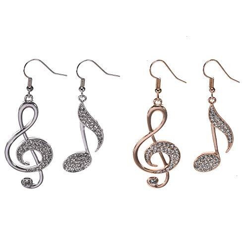 Gold Eighth Note (Feeko Earrings, 2 Pair Music Note Eighth Note Earrings for Women and Girls Dazzling Czech Rhinestone Treble Clef Fish Hook Dangle Earrings Silver and Gold)