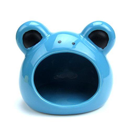 (Alfie Pet - Aidan Frog Hideout Hut for Small Animals Like Dwarf Hamster and Mouse - Color: Blue)