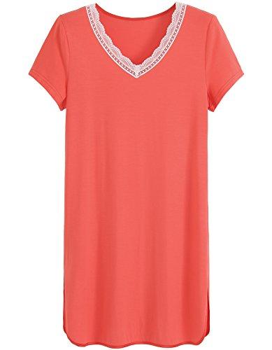 (Latuza Women's Short Sleeve V-Neck Sleep Shirt M Coral)