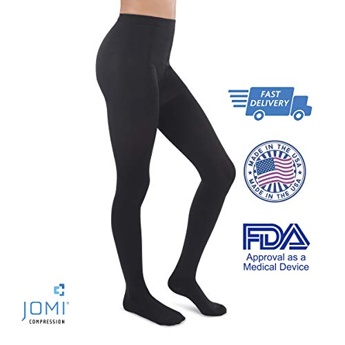 Jomi Compression Pantyhose Women Collection, 20-30mmHg Surgical Weight Closed Toe, Petite Short 272 (Medium, Black)