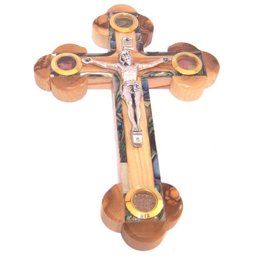 Thick Grade A Olive Wood 14 Stations Crucifix with Holy Land Samples and Mother of Pearls Decoration (18 cm or 7 inches)