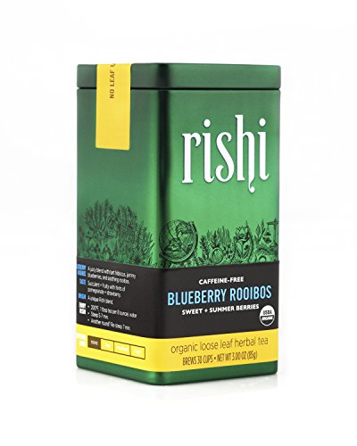Rishi Tea Organic Blueberry Rooibos, Caffeine Free, 3 Ounce - Bags Blueberry Leaf Tea