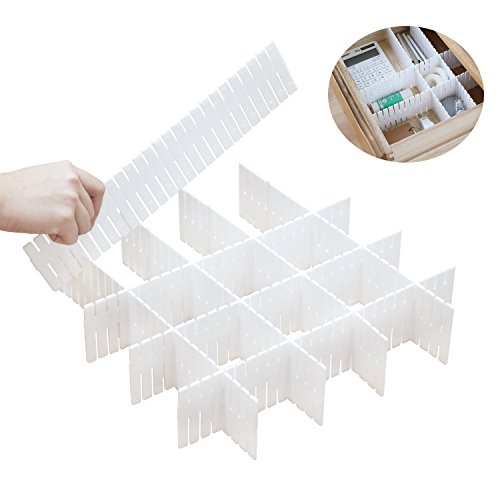DIY Plastic Drawer Dividers 8 Pcs Dresser Kitchen Office Drawer Organizer Accessories Underwear Tools Utensil Plastic Storage (White) ()