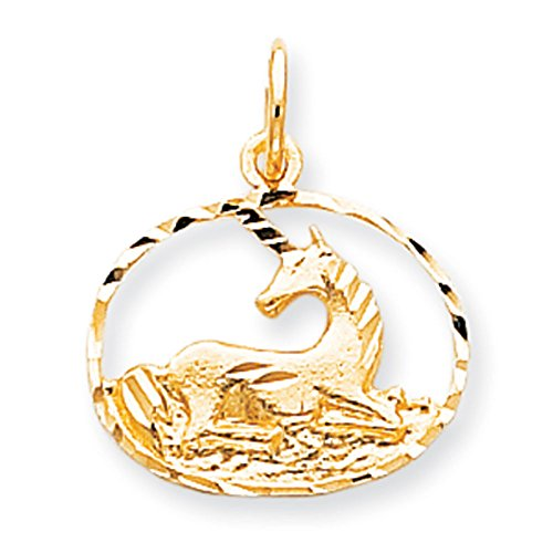 10K Yellow Gold Unicorn in Circle Charm Pendant ()