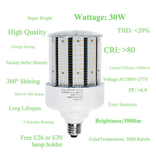 30w Corn Led Light Bulbs E26 E39 Base,300w Equielent. 5000k,Led Replacement 70-100w Metal Halide HID CFL HPS Lamp for… 3