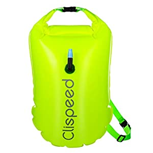 CLISPEED Swim Buoy 18L Inflatable Waterproof Dry Bag Swimming Buoy for Open Water Swimmers