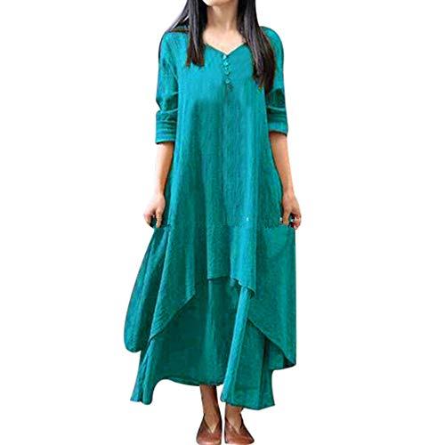 - Womens Vintage Boho Button Floral Print Flowy Party Long Sleeve Dress KIKOY