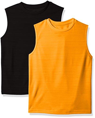 Hanes Boys' Big Sport Sleeveless Heathered Performance Tee (Pack of 2), Orange Glzed Black, - Tee Sleeveless Boys
