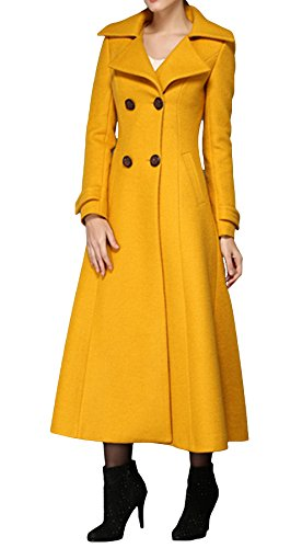 PENER Women's Yellow Cashmere Coat Long Trench Coat Woolen Coat (US 12)