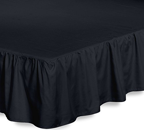 Bed Ruffle Skirt (Twin, Black) Brushed Microfiber Bed Wrap with Platform - Easy Fit Gathered Style 3 Sided Coverage by Utopia (Black Twin Platform)