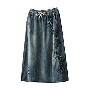 Women's Denim Mid A-line Skirts with Pockets