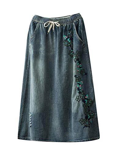 Minibee Women's Denim Mid Skirt Drawstring Waist Jeans A-line Skirts with Pockets Style 1 Light Blue