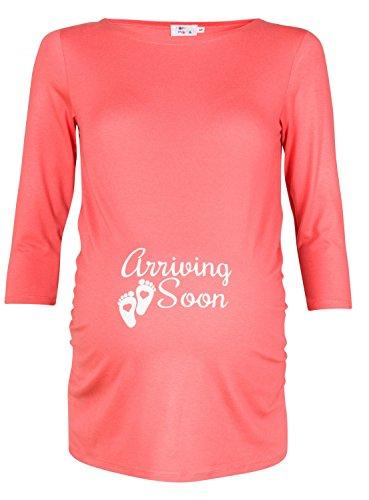 Happy Mama. De Las Mujeres Maternidad Superior Camiseta Bebé que llegan antes 3/4Mangas. 465p Coral