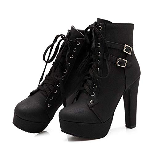 (VANDIMI Womens High Heel Ankle Boots Buckle Lace up Platform Booties Faux Leather Round Toe Chunky Knight Martin Boots Black )