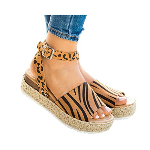 - Women's Platform Sandals Espadrille Wedge Ankle Strap Studded Open Toe Sandals Peep Toe Beach Travel Flat Shoes