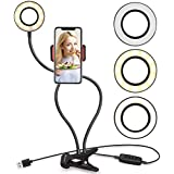 Milemont Selfie Ring Light with Cell Phone Holder Stand Flexible Arms, LED Camera Lighting for Live Stream/Makeup, Fits With iPhone, Android, 3 Light Colors 10 Level Brightness