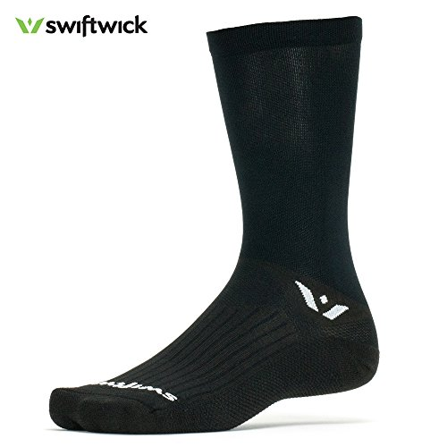 Price comparison product image Swiftwick ASPIRE SEVEN, Crew Socks for Cycling, Black, Large