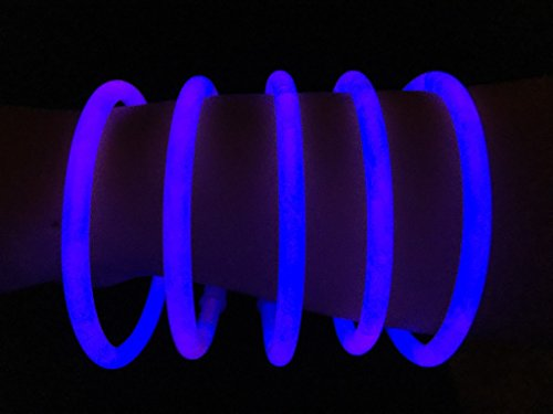 "Glow Sticks Bulk Wholesale Bracelets, 100 8"" Blue Glow Stick Glow Bracelets, Bright Color, Glow 8-12 Hrs, 100 Connectors Included, Glow Party Favors Supplies, Sturdy Packaging, GlowWithUs Brand"