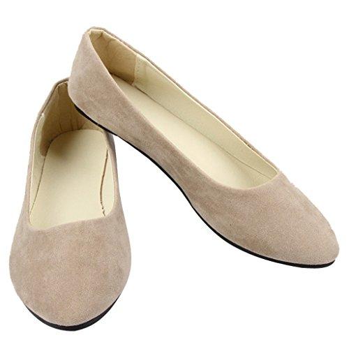 Dear Time Women Flat Shoes Comfortable Slip on Pointed Toe Ballet Flats Khaki 37