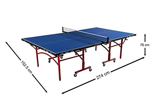 Stag Elite Table Tennis Table Top Thickness 16 Mm with Net Set, Table  Cover, 2 Racquets and 6 Balls Features Quick Assembly and Play Back Mode  (Blue)