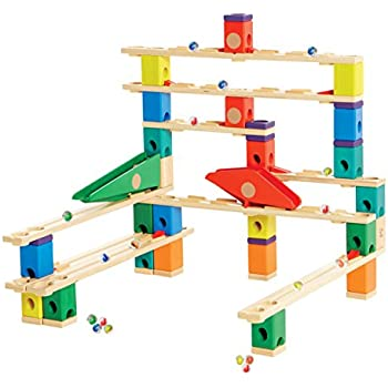 Hape Quadrilla Wooden Marble Run Construction - Autobahn - Quality Time Playing Together Wooden Safe Play - Smart Play for Smart Families