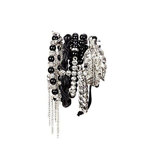 Aris Huge Stack Bohemian Beaded & Charm Stretch Bracelet Bundle: Bangles & Bag (Cross Leaves Silvertone)