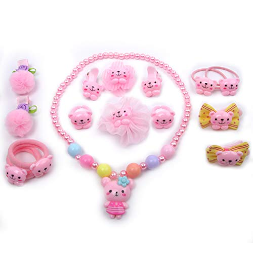 Creative Xmas gifts for girls age 3 to 6, Cute girls Hair Accessories Kit, Best birthday gifts for girls (Girls Kit Lovely Bear)