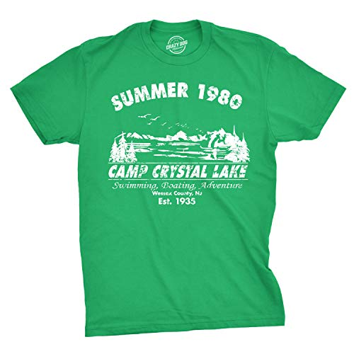 Mens Summer 1980 Mens Funny T Shirts Camping Shirt Vintage Horror Novelty Tees (Green) - L