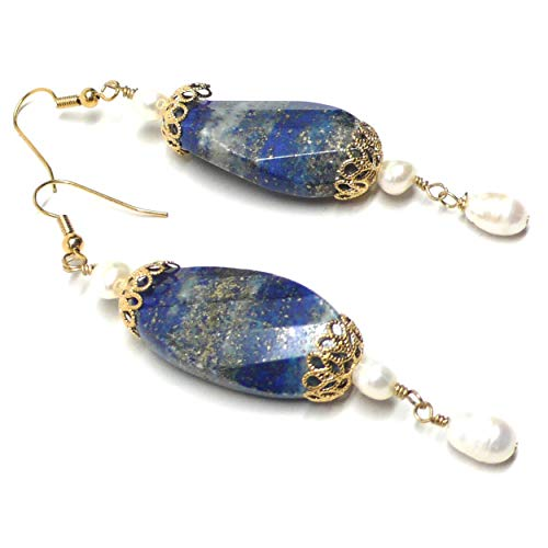 Lapis Lazuli Large Faceted Twist Oval Cultured Freshwater Pearl Pierced Earrings
