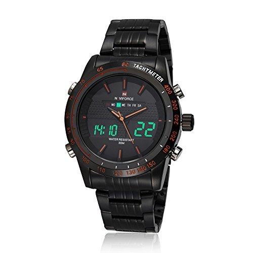 Mens relojes lujo Digital LED reloj negro Full acero cuarzo hombres reloj de pulsera militar deporte macho clock-in Dual Display Relojes: Amazon.es: Relojes