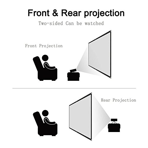 Projector Screen CFTech 100 inch Portable Projection Screen 16:9 Foldable Movies Screens Anti-crease for Home Theater Outdoor Indoor Party, Support Rear Projection (100inch) by CFTech (Image #3)