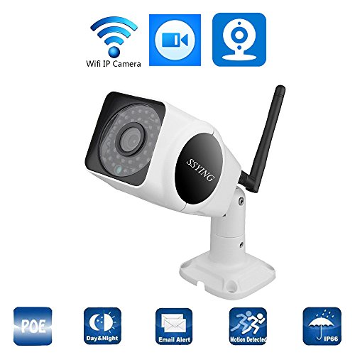 SSYING HD Wireless bullet IP Camera 960P for indoor or Outdoor With Audio WiFi Box Camera,Aluminum Alloy Housing Surveillance Camera (960P No Card)
