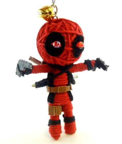 2 X Deadpool Voodoo String Doll Key Chain Handmade Red Superhero