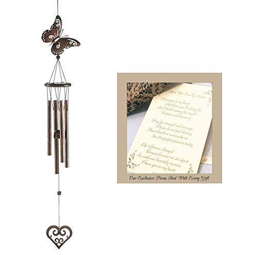 Dulaya Memories-The Sympathy Store I Have You in My Heart Metal and Wood Wind Chime for a Memorial Gift with Exclusive Poem and Card