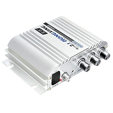 Car Amplifier, ELEGIANT 300W 12V Super Bass Mini Amplifier 2.1-Channel Auto Sound Enlarger Lightweight Hi-Fi CD iPod MP3 MP4 Car Audio Stereo Bass (Audio De Auto)